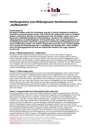 Stellungnahme zum Bildungsraum Nordwestschweiz ... - Lehrerinnen