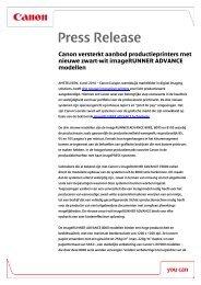 Download het volledige persbericht [PDF, 101 KB] - Canon