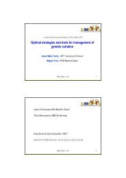 Optimal strategies and tools for management of genetic ... - Globaldiv