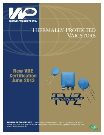 World Products TVZ Thermally Protected Varistors Catalogue