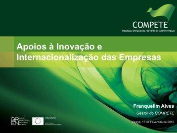 Apoios à Inovação e Internacionalização das ... - Compete - QREN