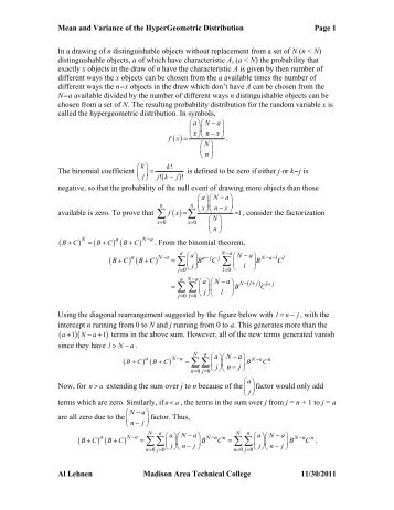 Derivation of the Mean and Standard Deviation of the ...
