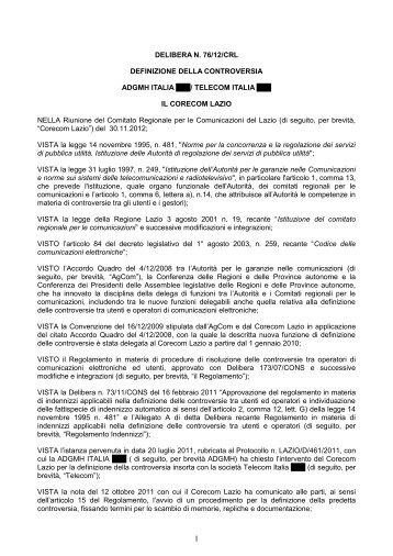 Delibera 76/12/CRL - Corecom Lazio