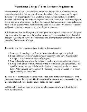 Freshman On-Campus Housing Regulation Request for Exemption