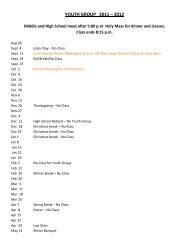 YOUTH GROUP 2011 – 2012 - St. Vincent de Paul Catholic Church