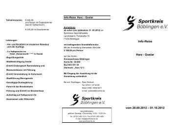Info-Reise Harz - Goslar vom 28.09.2012 ... - Sportkreis Böblingen