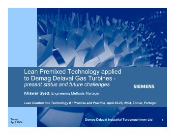Lean Premixed Technology applied to Demag Delaval Gas Turbines -
