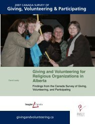 Giving and Volunteering for Religious ... - Imagine Canada