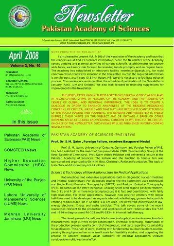 April 2008 - Pakistan Academy of Sciences