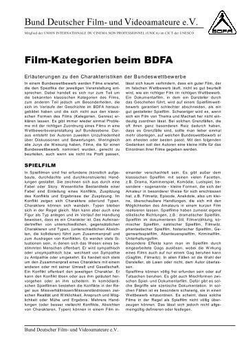 Filmkategorien beim BDFA - SportOn