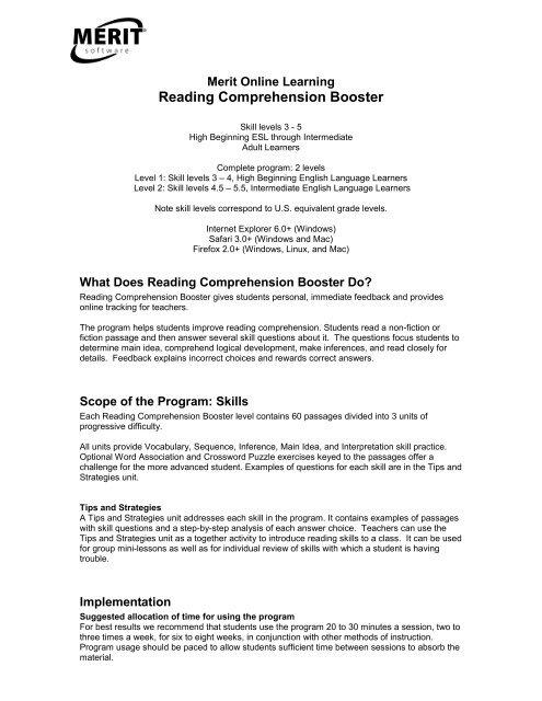 Reading Comprehension Booster - Merit Software