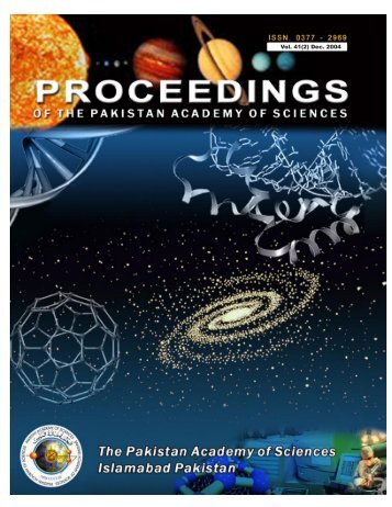 Vol. 41(2) Dec. 2004 - Pakistan Academy of Sciences