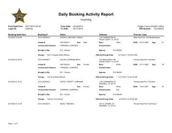 Flagler County Jail Bookings, Feb. 16-17, 2012 - FlaglerLive