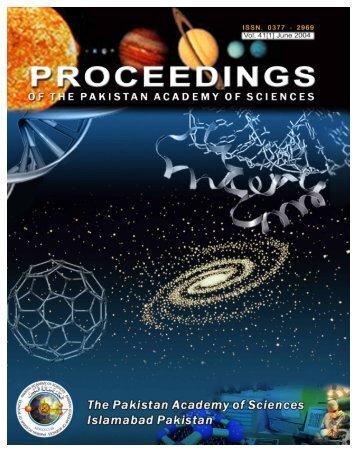 Proceedings of PAS - Pakistan Academy of Sciences