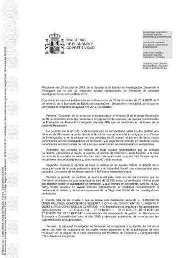 Cuarta resolución de Concesión de Ayudas FPI 2012 - Ministerio de ...