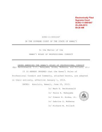 amendments to the Hawaii Rules of Professional Conduct