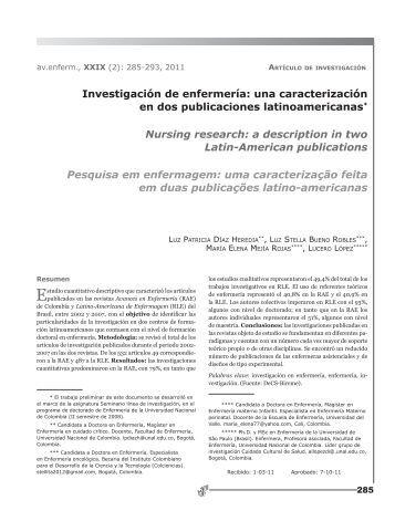 Investigación de enfermería: una caracterización ... - SciELO Colombia