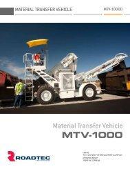 MTV-1000: At a Glance - Roadtec, Inc.