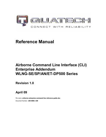 Airborne Enterprise Command Line Reference Guide - Quatech