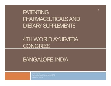 patenting pharmaceuticals and dietary supplements 4th world ...