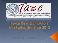 Distributor Training - Texas Alcoholic Beverage Commission