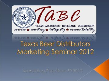 Distributor Training - Texas Alcoholic Beverage Commission