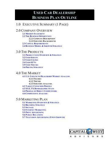 View A Sample Film Business Plan Outline   Capital West Advisors