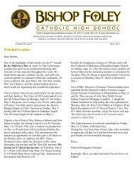 May 2013 Newsletter - Bishop Foley Catholic High School