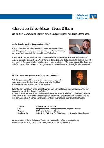 Kabarett der Spitzenklasse - Straub & Bauer - Volksbank Heilbronn eG