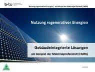 Nutzung regenerativer Energien. Gebäudeintegrierte Lösungen am ...