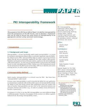 PKI Interoperability Framework Whitepaper - oasis pki