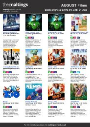 AUGUST Films Book online & SAVE 5% until 31 Aug - The Maltings