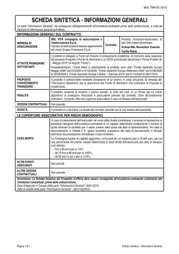 scheda sintetica - informazioni generali - Bnl