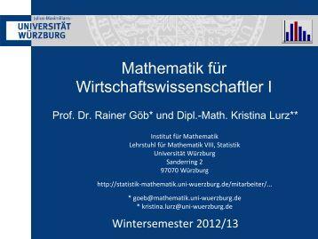 Folien - Lehrstuhl für Mathematische Statistik Uni Würzburg