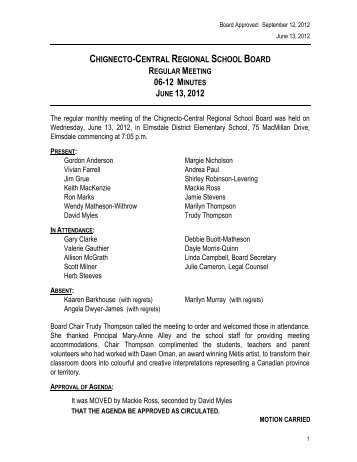 June 13, 2012 Board Meeting Minutes - Chignecto-Central Regional ...