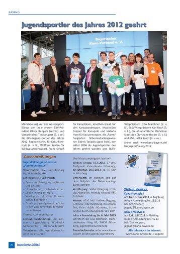Jugendsportler des Jahres 2012 geehrt - Kanu-Schwaben-Augsburg