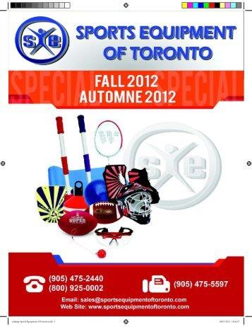 Current Catalogue - Sports Equipment of Toronto Ltd.