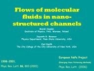 Flows of molecular fluids in nano- structured channels