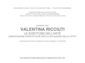 VALENTINA RICCIUTI - Architettura e Urbanistica - Politecnico di Bari