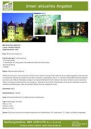 Märchenschloss Althörnitz - Eventreisen - Trierischer Volksfreund