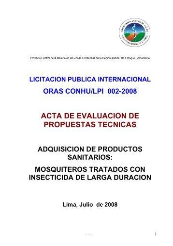 acta de evaluacion de propuestas tecnicas - Organismo Andino de ...