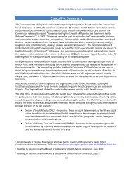 Executive Summary - Virginia's State Rural Health Plan