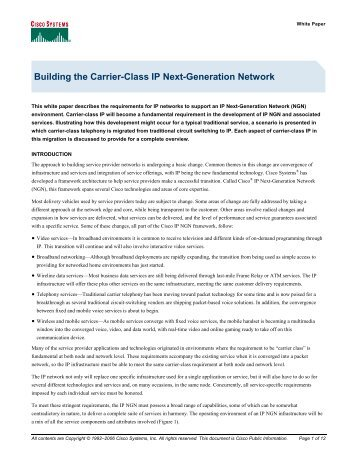 Building the Carrier-Class IP Next-Generation Network - The Cisco ...
