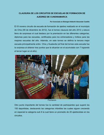 CLAUSURA DE LOS CIRCUITOS DE ESCUELAS DE FORMACION ...