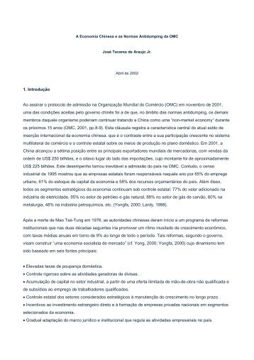 A Economia Chinesa e as Normas Antidumping da OMC - Ecostrat