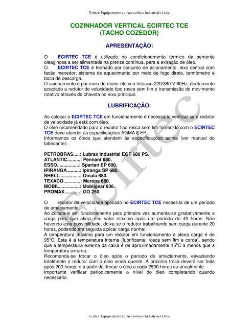 cozinhador vertical ecirtec tce (tacho cozedor) - CORA