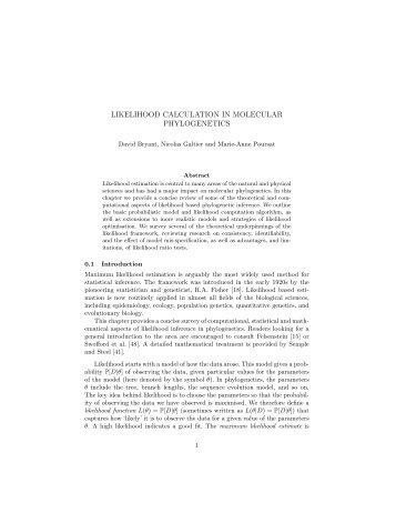 likelihood calculation in molecular phylogenetics - Department of ...