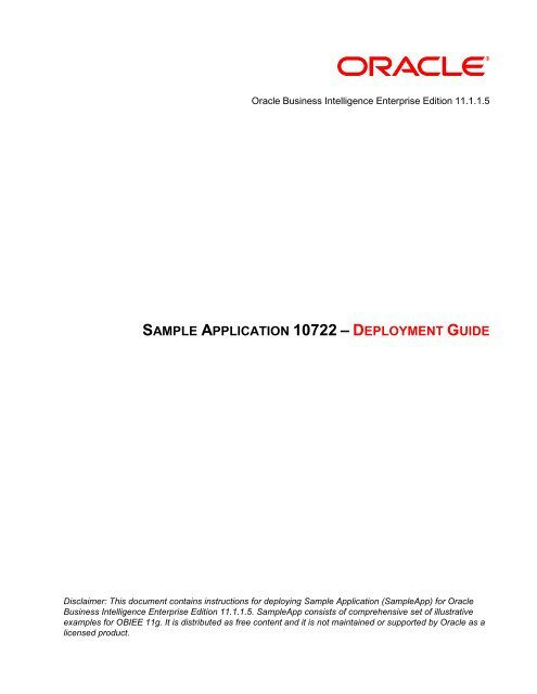 SAMPLE APPLICATION 10722 – DEPLOYMENT GUIDE - Oracle
