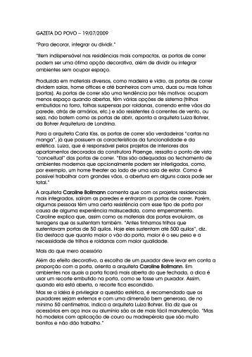"""GAZETA DO POVO – 19/07/2009 """"Para decorar, integrar ... - Espaço A"""