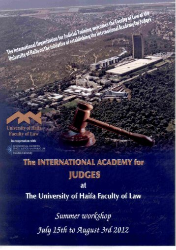 Page 1 Page 2 The INTERNATIONAL ACADEMY for jUDGES The ...